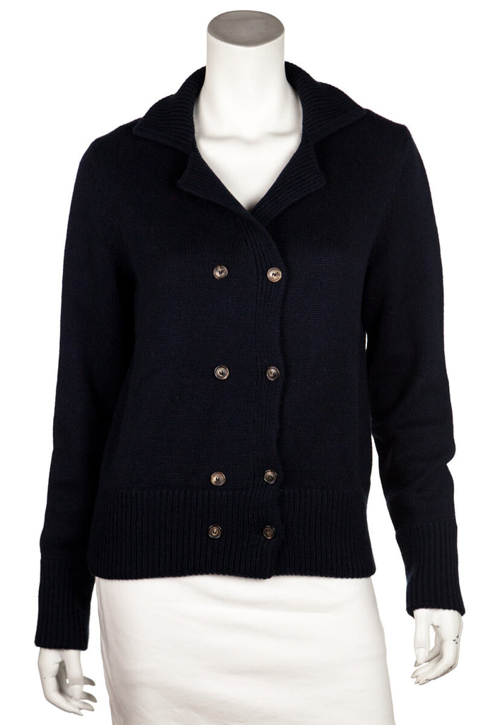 Loro Piana navy cashmere double breasted cardigan L | IT 46 - OWN THE COUTURE