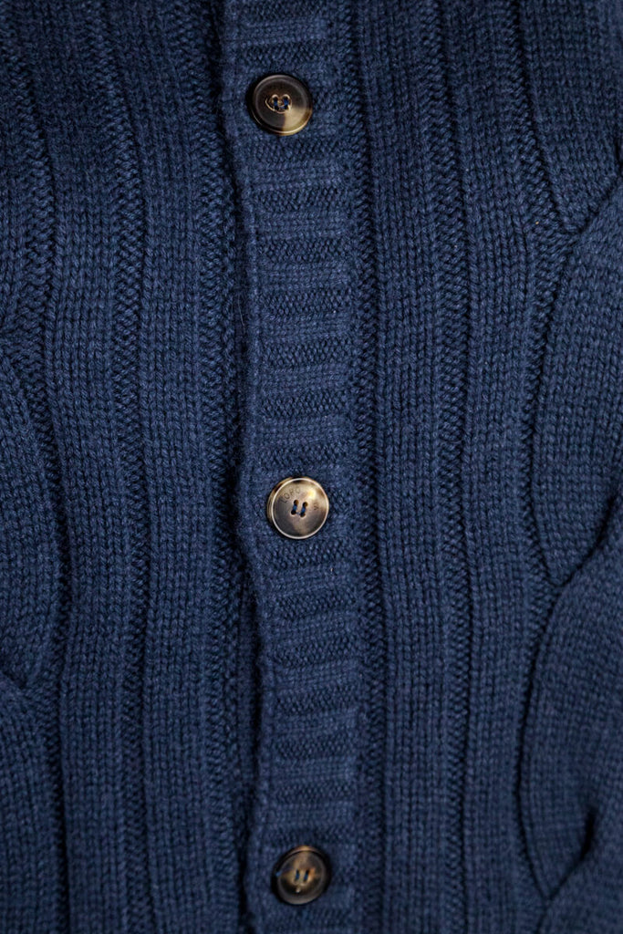 Loro Piana blue cable knit cardigan XL | IT 48 - OWN THE COUTURE
