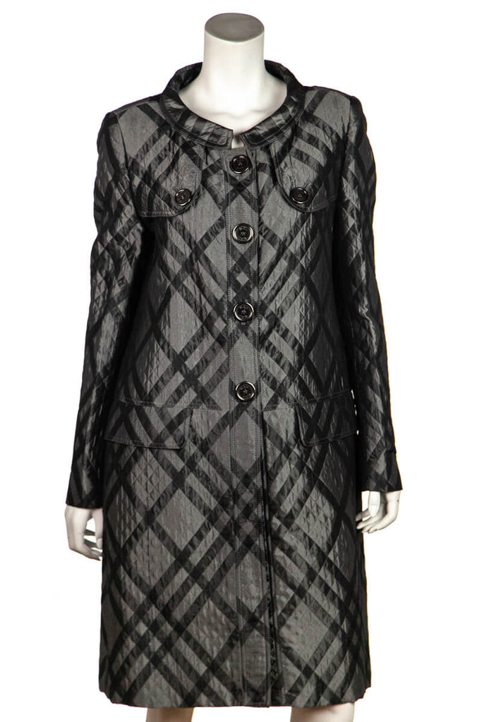 Burberry Grey Metallic Check Quilted Coat Size L | UK 14 [20% OFF] - OWN THE COUTURE