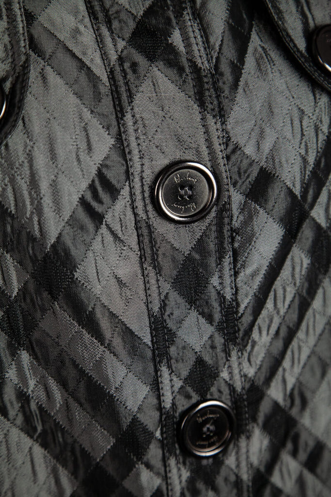Burberry Grey Metallic Check Quilted Coat Size L | UK 14 - OWN THE COUTURE
