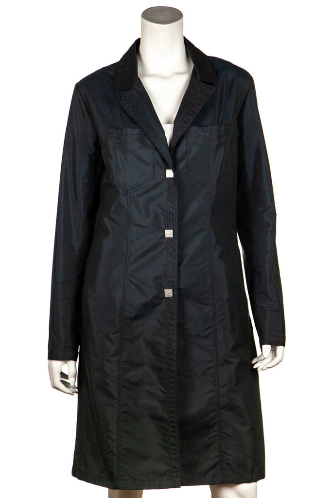 Chanel Navy Nylon Trench Coat From Fall Winter 2002 Size XL | FR 44 - OWN THE COUTURE