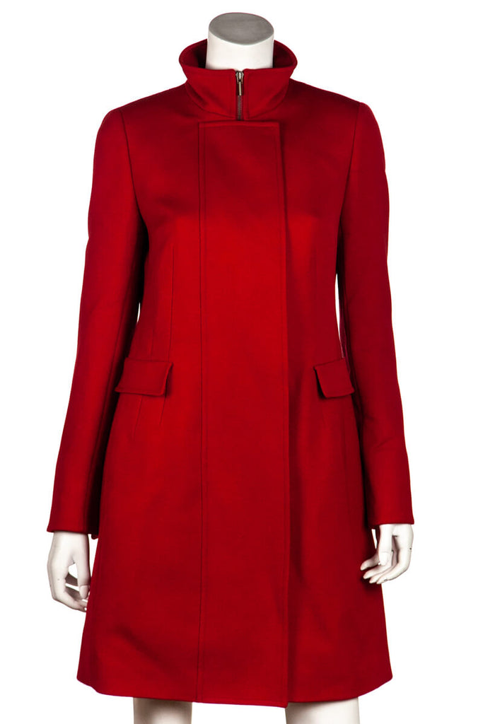 Akris Punto Red Wool Zip Coat New w/ Tags Size L | D 40 [20% OFF] - OWN THE COUTURE