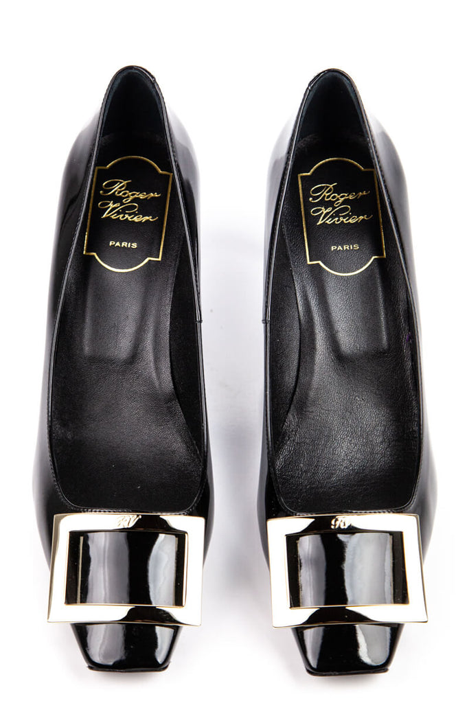Roger Vivier Black Patent Belle Vivier Trompette Pumps New Size 8 | EU 38 - OWN THE COUTURE