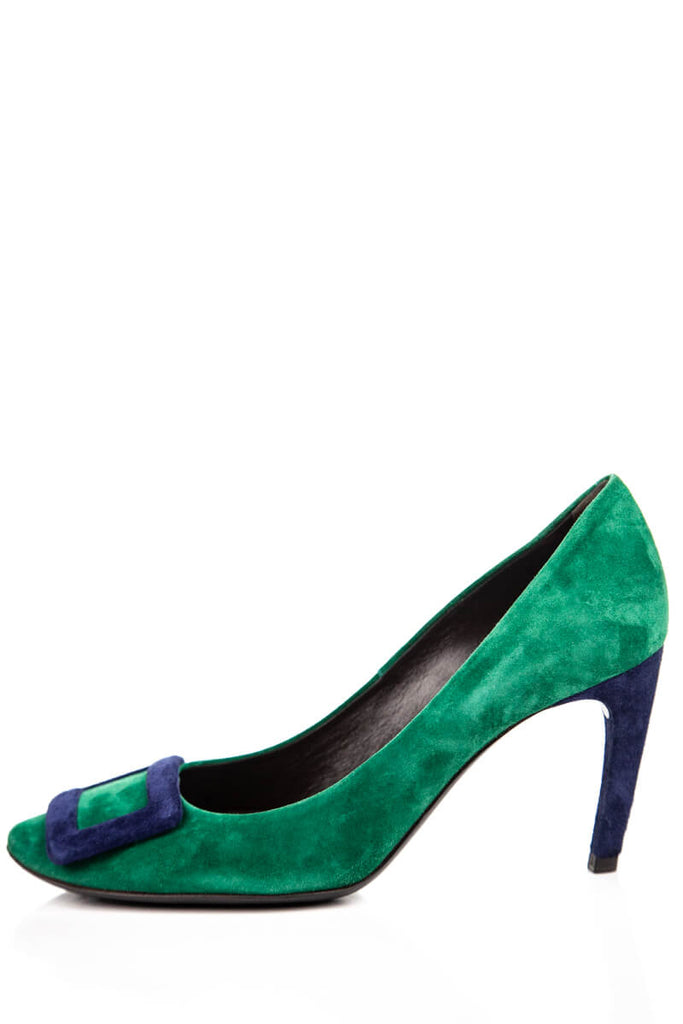 Roger Vivier Green & Blue Suede Buckle Pumps Size 7.5 | IT 37.5 - OWN THE COUTURE