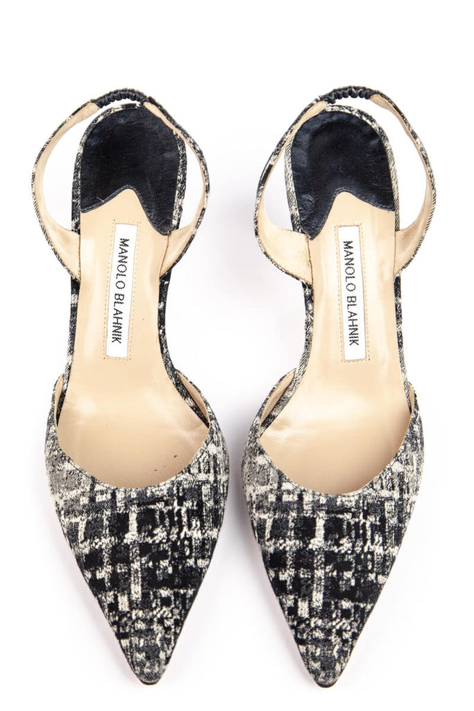 Manolo Blahnik Black and Grey Woven Sling Back Pumps Size 8.5 | IT 38.5 - OWN THE COUTURE