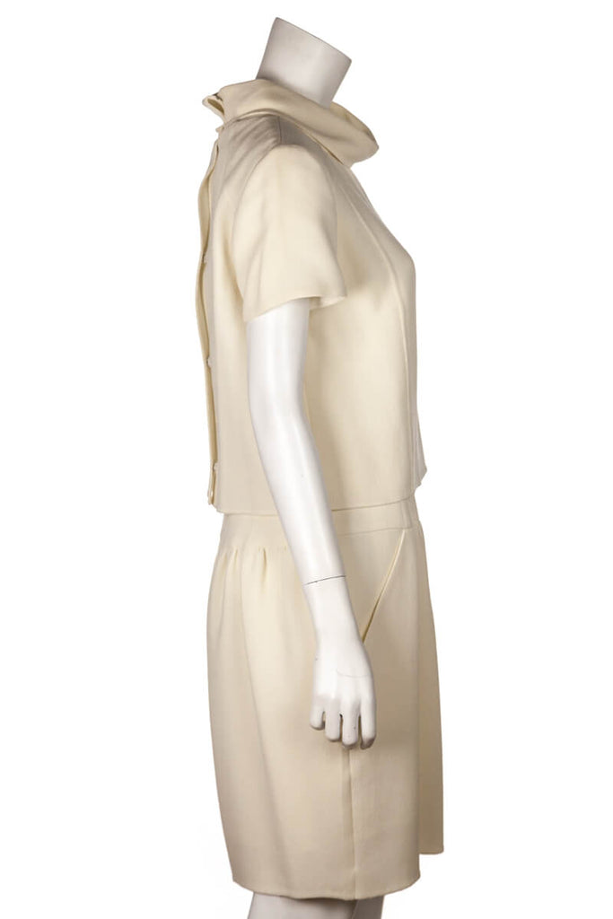 Oscar De La Renta Ivory Wool Crepe Short Sleeve Dress Size L | US 10 [20% OFF] - OWN THE COUTURE