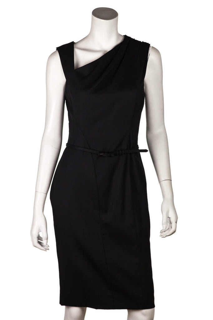 Carolina Herrera Black Belted Sleeveless Sheath Dress Size M | US 8 - OWN THE COUTURE