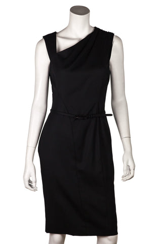 Prada Black Crepe Sccop Neck Sleeveless Dress Size M | IT 44