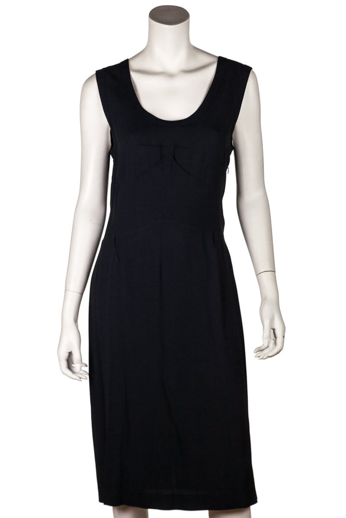 Prada Black Crepe Sccop Neck Sleeveless Dress Size M | IT 44 - OWN THE COUTURE
