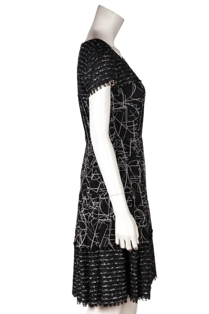 Oscar De La Renta Black And White Tweed And Silk Dress Size S | US 6 - OWN THE COUTURE