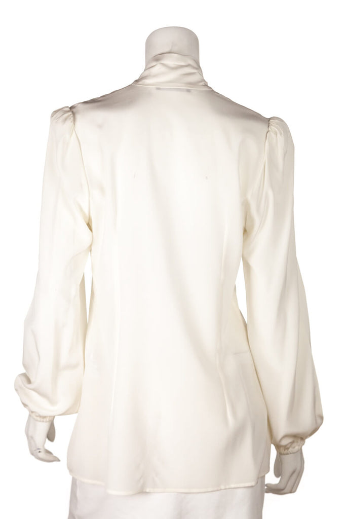 Dolce & Gabbana White Silk Pussy Bow Tie Blouse Size M | IT 44 [20% OFF] - OWN THE COUTURE