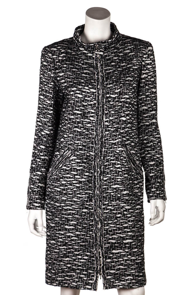 Chanel Black And White Tweed Knee Length Coat Size L | FR 42 - OWN THE COUTURE
