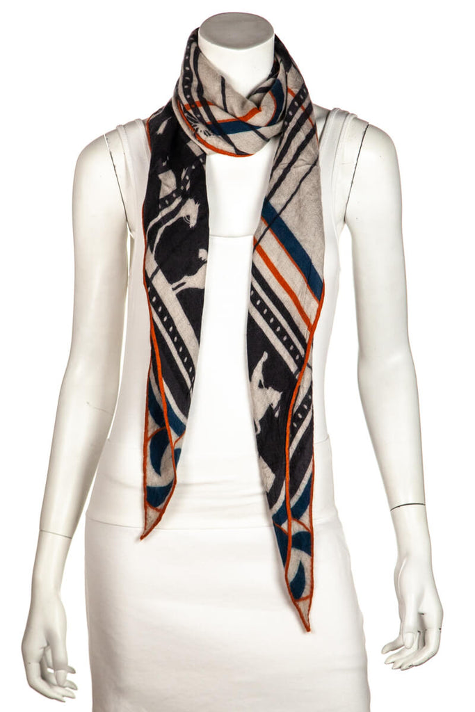 Hermès Imprimeur Fou Sequence cashmere and silk Losange Scarf - OWN THE COUTURE