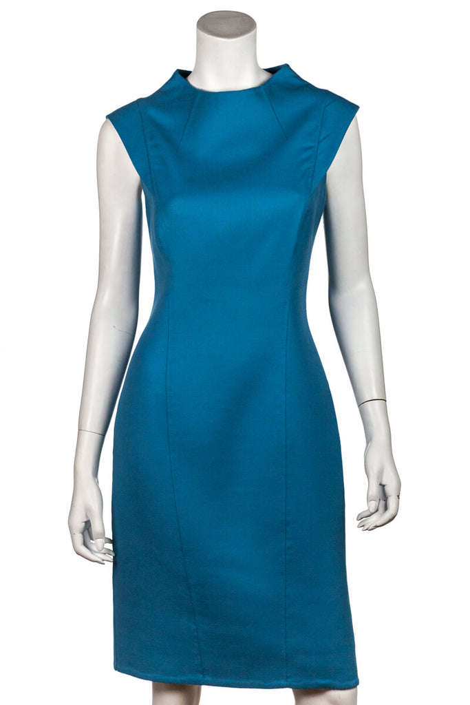 Carolina Herrera Turquoise Cap Sleeve Dress Size S | US 6 - OWN THE COUTURE