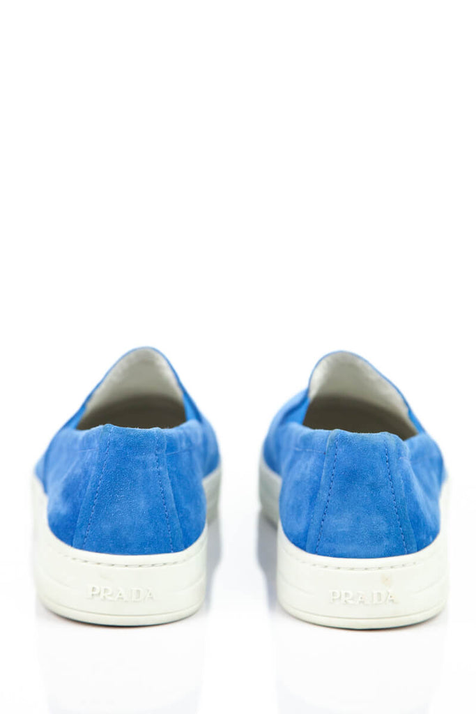 Prada Sport Blue Suede Slip on Sneakers Size 8.5 | EU 38.5 - OWN THE COUTURE