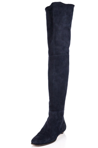9c76a9c9d05 Jimmy Choo blue suede over the knee Edna boots Size 9