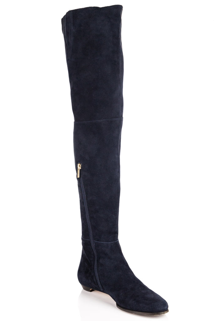 jimmy choo blue suede over the knee boots own the couture rh ownthecouture com