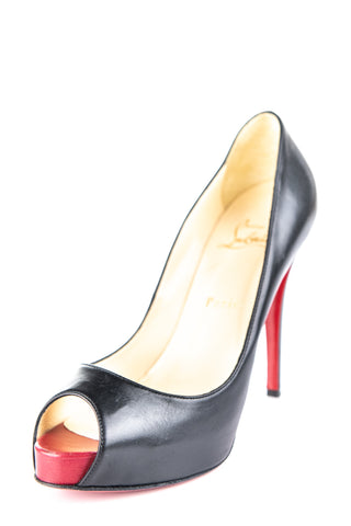 a82aa6fb094 Christian Louboutin black leather hidden platform peep toe pumps Size 8.5