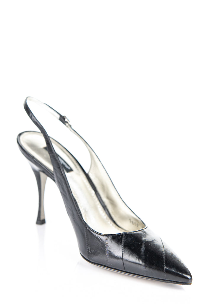 Dolce & Gabbana black eel pointed toe sling back heels Size 9 | EU 39 - OWN THE COUTURE