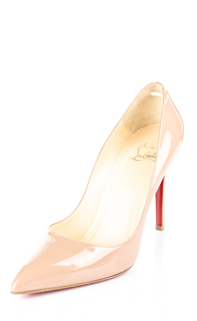 size 40 6fbdb 4e8d8 Christian Louboutin nude patent Pigalle pointed toe pumps Size 9.5 | EU  39.5 [10% OFF]