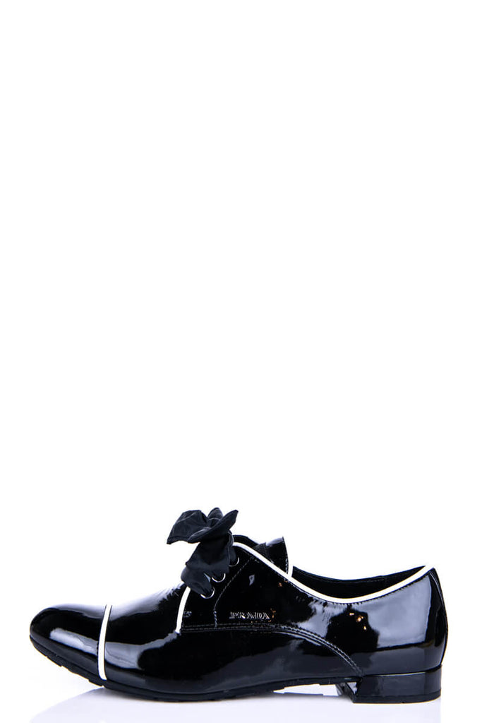 Prada Sport Black Patent Lace Up Oxfords Size 8.5 | IT 38.5 - OWN THE COUTURE