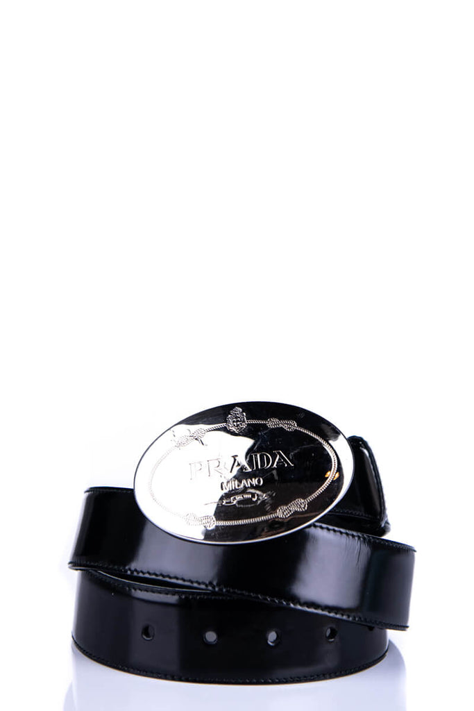 634f0384526b ... Prada Black Leather Logo Buckle Belt - M - OWN THE COUTURE ...