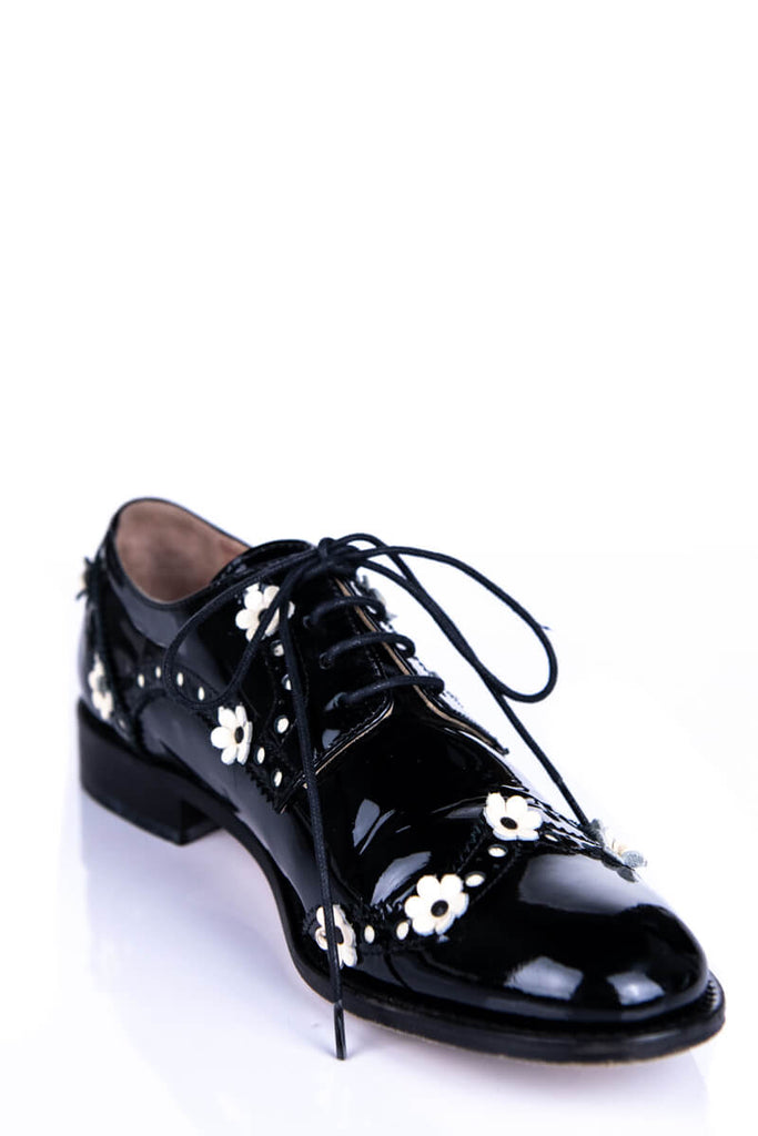 RED Valentino Black Patent Leather Floral Embellished Brogues Size 6 | IT 36 - OWN THE COUTURE