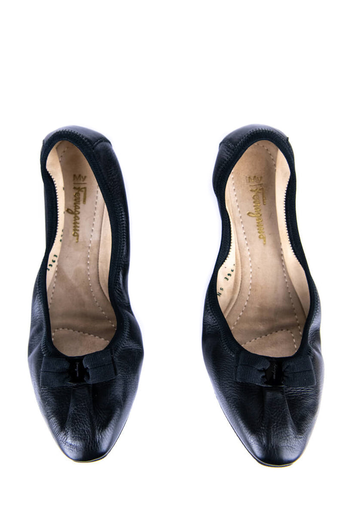 Salvatore Ferragamo Black Leather Pointed Ballet Flats Size 8 | IT 38 - OWN THE COUTURE