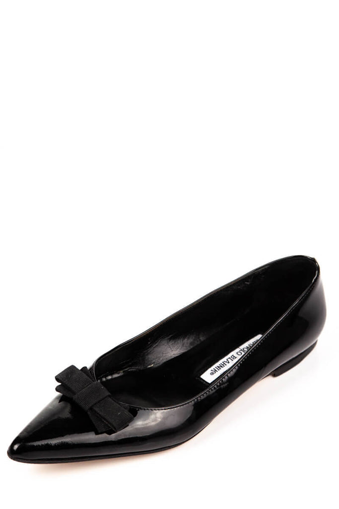 Manolo Blahnik Black Patent Bow Pointed Toe Flats Size 9 | EU 39 - OWN THE COUTURE