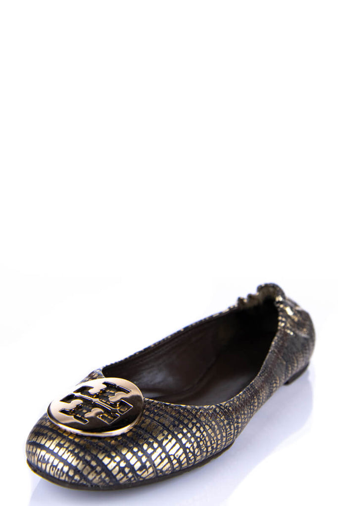 f9ab67473 ... Tory Burch Gold Snakeskin Printed Reva Ballet Flats Size 7.5 - OWN THE  COUTURE ...