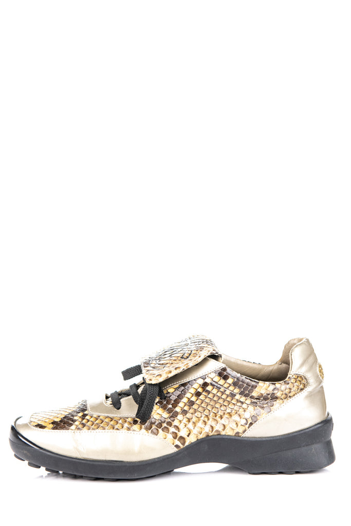 Chanel beige snakeskin low top sneakers Size 8.5 | EU 38.5 - OWN THE COUTURE