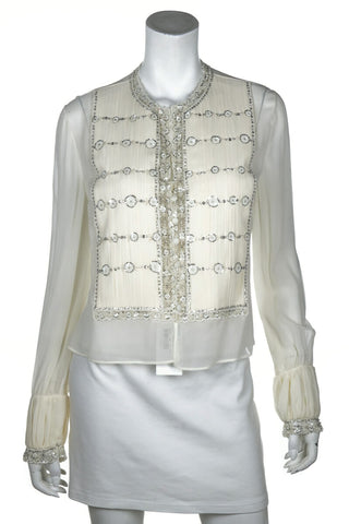 3fdd6dec57 Valentino Ivory Embellished Jacket New w/ tags Size L   US 10. $1,425.00. Barbara  Bui quilted leather moto jacket Size M   FR 40 ...