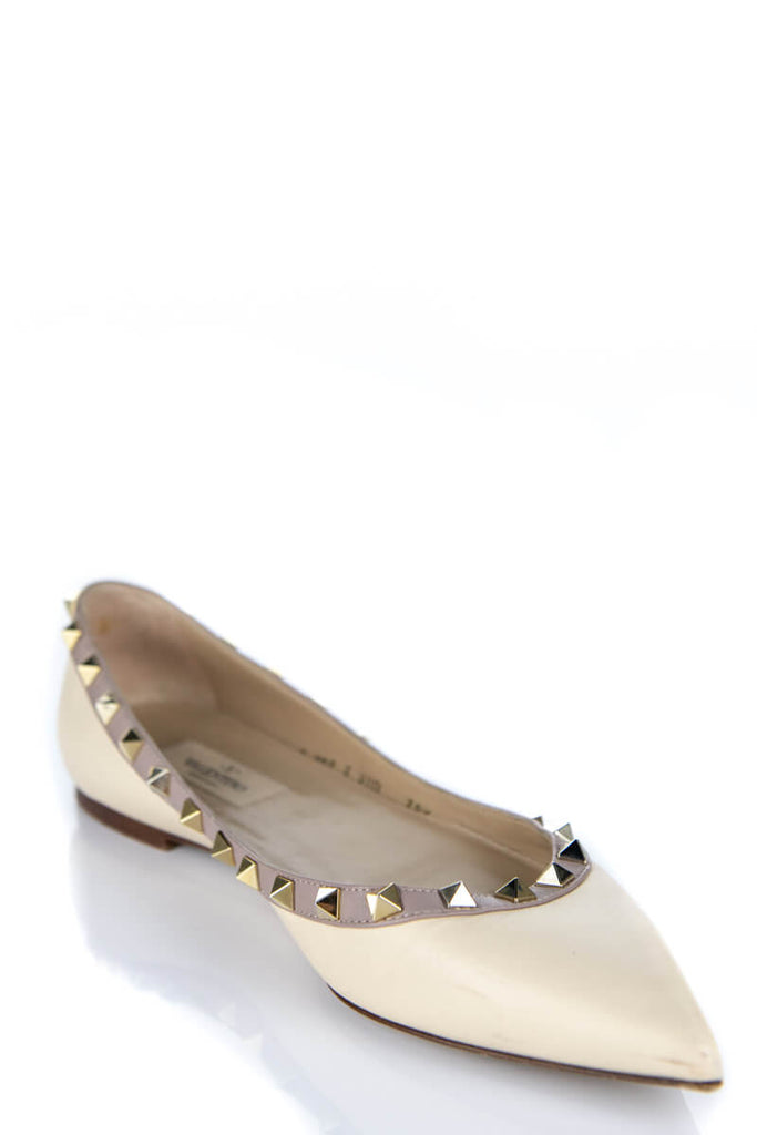 Valentino Ivory Rockstud Flats Size 8.5 | EU 38.5 - OWN THE COUTURE