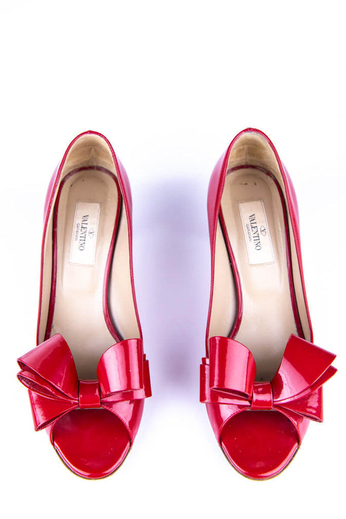 b938641c3 ... Valentino Red Patent Peep Toe Bow Pumps Size 7.5 | EU 37.5 - OWN THE  COUTURE ...