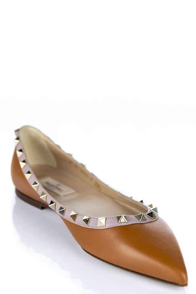 Valentino Tan Rockstud Flats New Size 8.5 | EU 38.5 - OWN THE COUTURE
