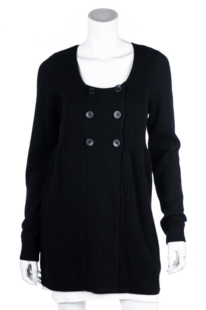Vince Black Wool Blend Ribbed Knit Collarless Cardigan Size L - OWN THE COUTURE