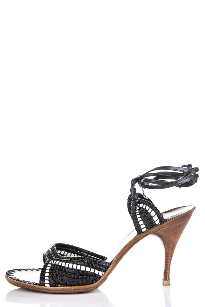 Bottega Veneta Black & White Weaved Sandals Size 10 | EU 40 - OWN THE COUTURE