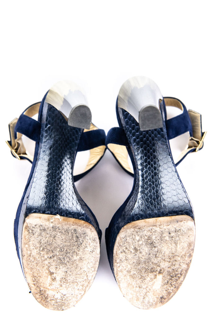 Jimmy Choo blue suede platform sandals Size US 8 | EU 38 - OWN THE COUTURE