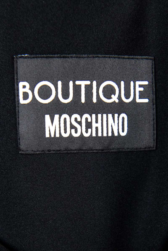 Boutique Moschino Black & Gold Printed Bow Dress Size M | IT 44 - OWN THE COUTURE