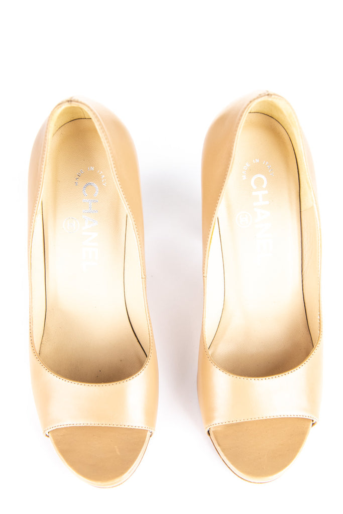 Chanel beige cork heel peep toe platform pumps Size 6 | EU 36 - OWN THE COUTURE