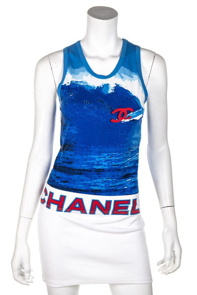 Chanel Blue cotton surf sleeveless top Size XS - OWN THE COUTURE