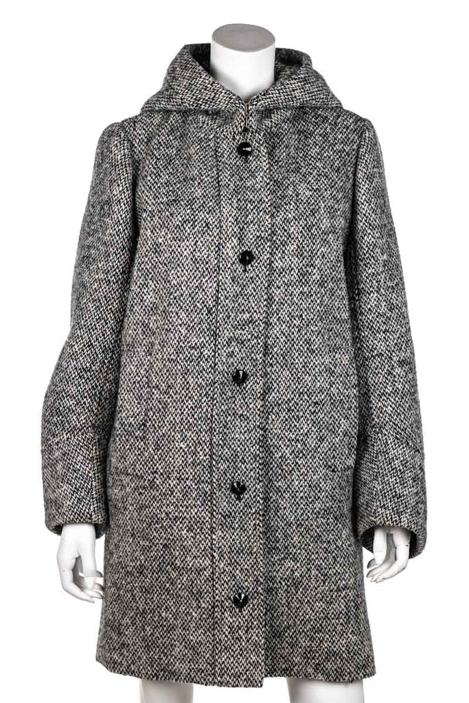 Yves Saint Laurent black and white tweed hooded coat L | FR 42 - OWN THE COUTURE