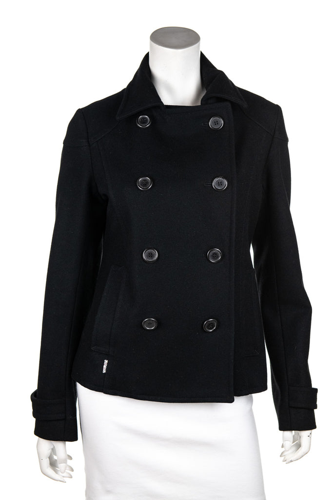 shades of finest selection new style Burberry London black wool double breasted peacoat Size M