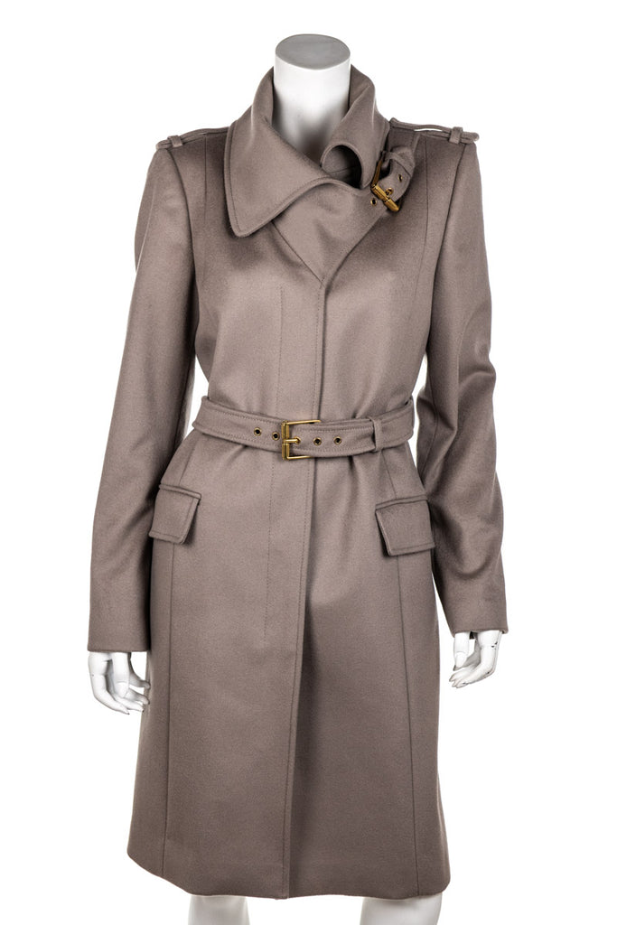 Gucci taupe wool belted coat Size L | IT 46 - OWN THE COUTURE