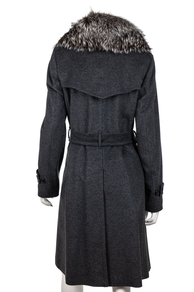 Burberry grey wool and cashmere fur trimmed belted coat S | UK 10 - OWN THE COUTURE