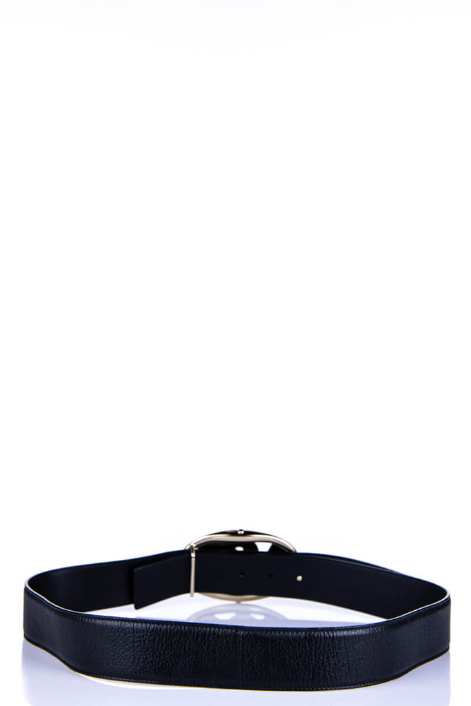 Yves Saint Laurent Black Leather Logo Belt - M - OWN THE COUTURE