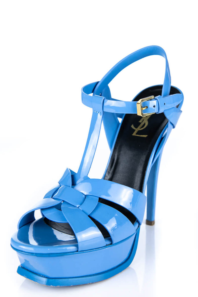 6c34aceaffb ... Yves Saint Laurent Bleu Clair Patent Leather Tribute Sandals Size 7.5 |  EU 37.5 - OWN ...