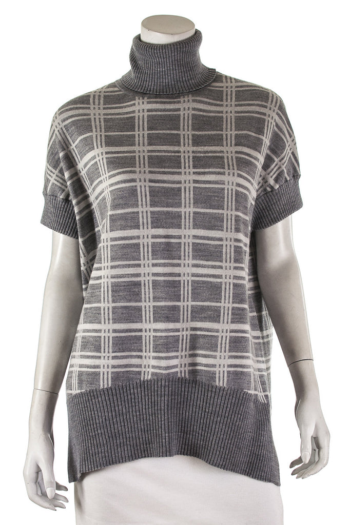 Karen Millen check wool-blend short sleeve turtleneck sweater Size XS - OWN THE COUTURE  - 1
