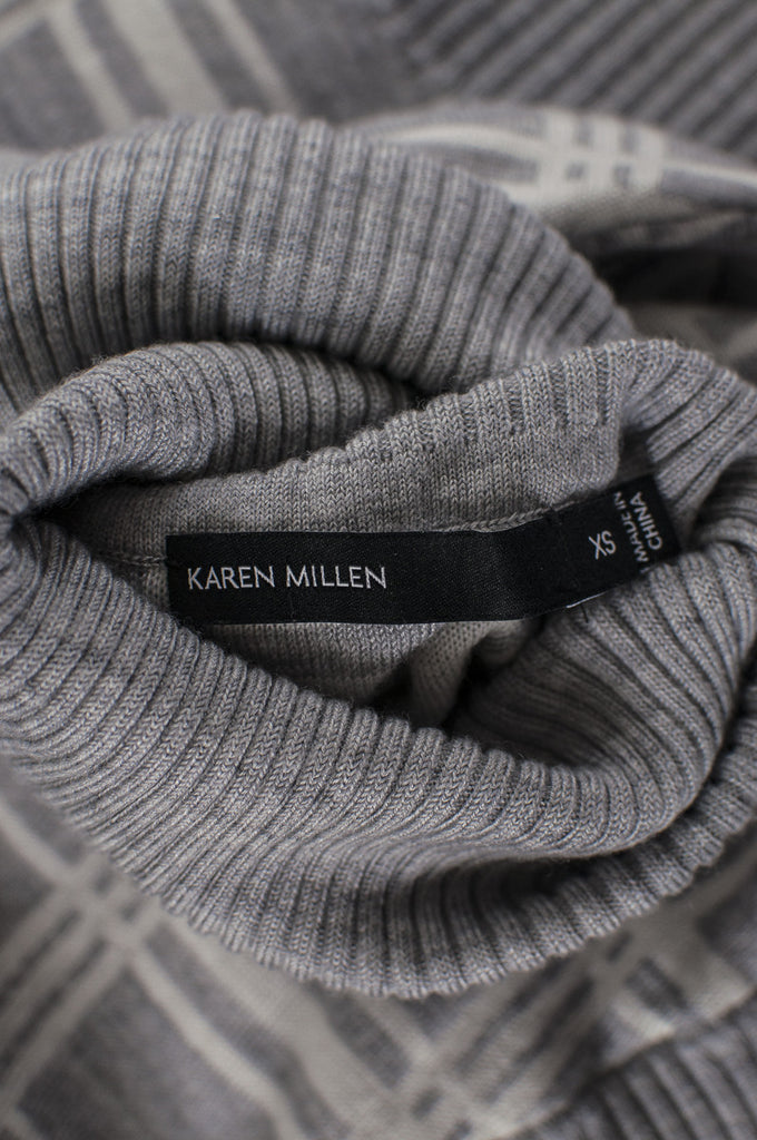 Karen Millen check wool-blend short sleeve turtleneck sweater Size XS - OWN THE COUTURE  - 5
