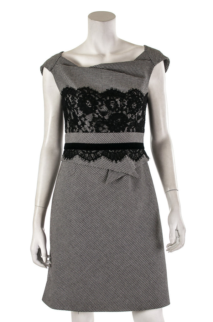 Karen Millen houndstooth and lace sleeveless shift dress Size S | UK 10  [20% OFF] - OWN THE COUTURE
